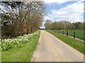TM1257 : Footpath to Green Lane Farm & entrance to Home Farm by Adrian Cable