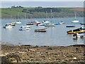 SW8238 : Anchored boats at Loe Beach, near Feock, Cornwall by Derek Voller