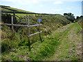 SC2887 : Raad ny Foillan waymarks, near Gob y Deigan by Christine Johnstone
