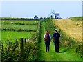 D0444 : Walkers along the coastal path, Ballintoy by Kenneth  Allen