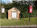 SJ5756 : Village notice  board, 1st. World War memorial and post box, Haughton village by Norman Caesar