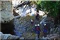 NN8166 : Canyoning group, Bruar Falls (1) by Jim Barton