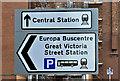 J3373 : Bus and railway stations direction signs, Belfast (November 2016) by Albert Bridge