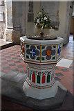 TQ5243 : Church of St John the Baptist - font by N Chadwick