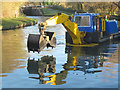 SP9213 : A dredger approaching Lock 42 on the Grand Union Canal by Chris Reynolds