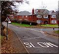 SO9669 : Warning sign - road narrows, St Godwald's Road, Bromsgrove by Jaggery