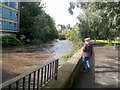 NS5766 : River Kelvin in flood, Glasgow by Alex Passmore