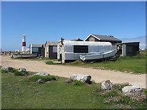 SY6768 : Beach huts near Portland Bill by Gareth James