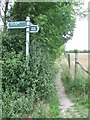 TL5665 : Footpath And Byway Sign by Keith Evans