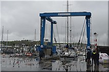 SX4953 : Boat hoist, Plymouth Yacht Haven by N Chadwick