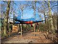 "TQ0083 : ""Go Ape"" net trampoline with beach balls, Black Park by David Hawgood"