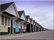 SZ1191 : Boscombe Beach Huts by Trevor Baldwin