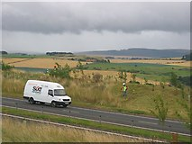 NT5676 : Grass cutting on the A1 by Richard Webb