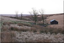 SD9433 : Footbridge and shooting lodge, Greave Clough by Mark Anderson