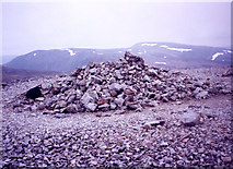 NO1379 : the summit cairn on Carn Aosda by bill copland