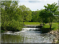SJ8582 : Weir on River Bollin above Vardon Bridge, Wilmslow by Pete Taylor