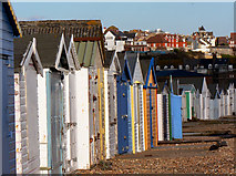 TQ7808 : Beach Huts at Bulverhythe, West St Leonards on sea. March 2006. by Simon Hookey