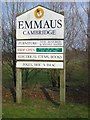 TL4866 : Sign at entrance to Emmaus, Landbeach by Jeff Bronks