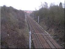 NS7463 : Railway near Rosehall, Coatbridge by Chris Upson