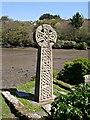 SW8435 : Celtic Cross in St Just in Roseland Churchyard by Tony Atkin