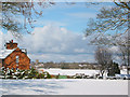 SJ5846 : View towards Wrenbury in the snow by Espresso Addict