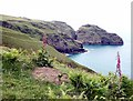 SX0689 : Over Bossiney Haven to Lye Rock by Jon Coupland