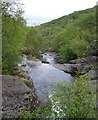 NM6936 : The Scallastle River, looking downstream from the footbridge by Stephen Whittaker and Katharine Oakeshott