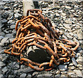 SX4362 : Rusty chain on the Tamar shore by Kate Jewell