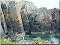 SM7423 : Rock climbing at Porth Clais by Robin Lucas