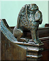TG3419 : St Peter, Neatishead, Norfolk - Bench end by John Salmon
