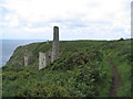 SW6026 : Wheal Trewavas mine pump engine houses and chimneys by Tim Heaton