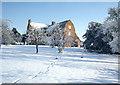 SP3274 : Kings Hill Farmhouse in the Snow by Robert Caldicott