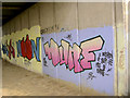 SE4203 : Graffiti under parkway bridge over river Dearne. by Steve  Fareham