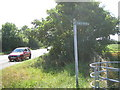 TL0543 : Footpath sign on side of A6 near Wilstead by ian saunders