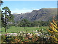 NY1203 : Park-like landscape near Nether Wasdale, looking to the screes by Andrew Hill