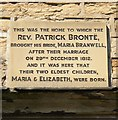 Photo of Patrick Brontë, Maria Branwell, Maria Brontë, and Elizabeth Brontë stone plaque