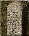 SX3074 : Red Admiral on stone signpost by Derek Harper