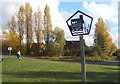 TM0955 : Village sign at road junction, Creeting St Mary by Andrew Hill