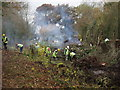 SJ2923 : Clearing scrub from the derelict canal by John Haynes