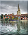 SU4996 : The Thames and Abingdon Church spire by Andy Stephenson