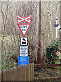SN6878 : Signs at Aberffrwd level crossing by John Lucas