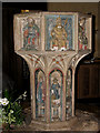 TG3511 : All Saints Church - baptismal font by Evelyn Simak