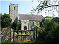 TG4028 : St Andrew's church viewed from churchyard gate by Evelyn Simak
