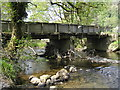 SN8984 : River Severn,Glynhafren farm bridge. by kevin skidmore