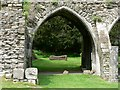 SS8086 : Margam Abbey Ruins with modern sculpture by Mick Lobb