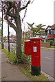 TQ3094 : George V Pillar Box on corner of Wynchgate and Queen Elizabeth Drive, London N14 by Christine Matthews