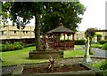 SK5506 : Peaceful garden at Glenfield Hospital by Andrew Tatlow