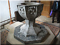 NZ3528 : Font in St Edmund's church by Stephen Craven