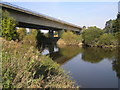 SJ5210 : River Severn,  Shrewsbury A5 bypass road bridge by kevin skidmore