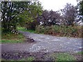 NZ3346 : Junction of footpath and disused railway by Roger Smith